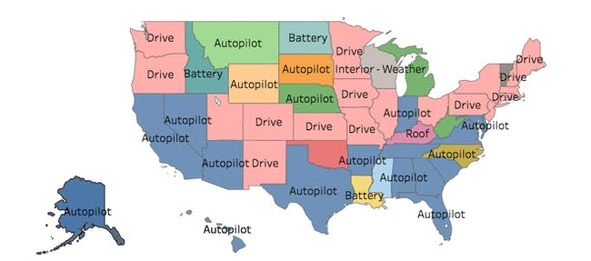 Autopilot tops the list of requested features in several U.S. states.
