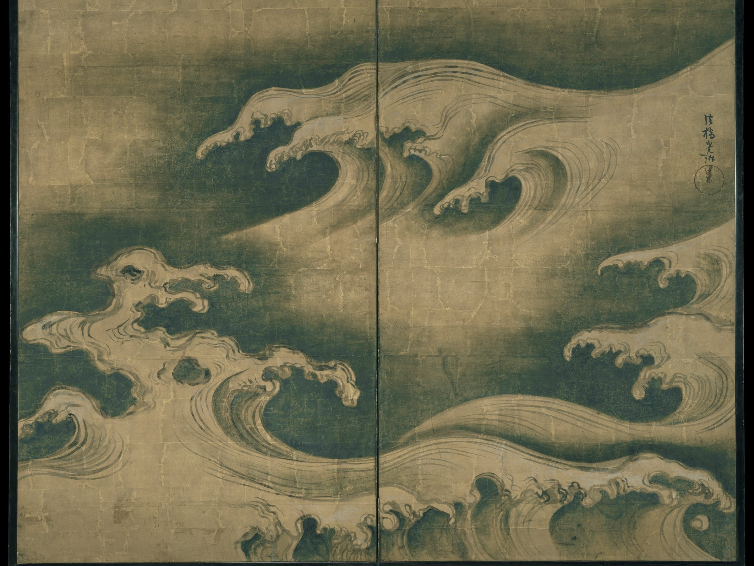 waves, japan, wood-block printing