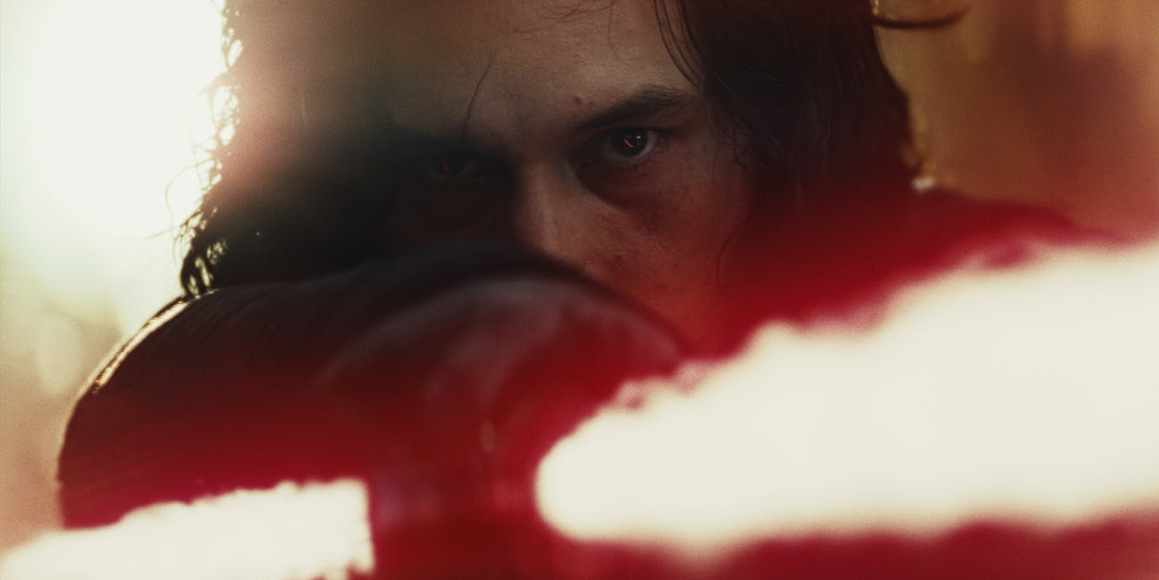 Who will Kylo Ren point that lightsaber at?
