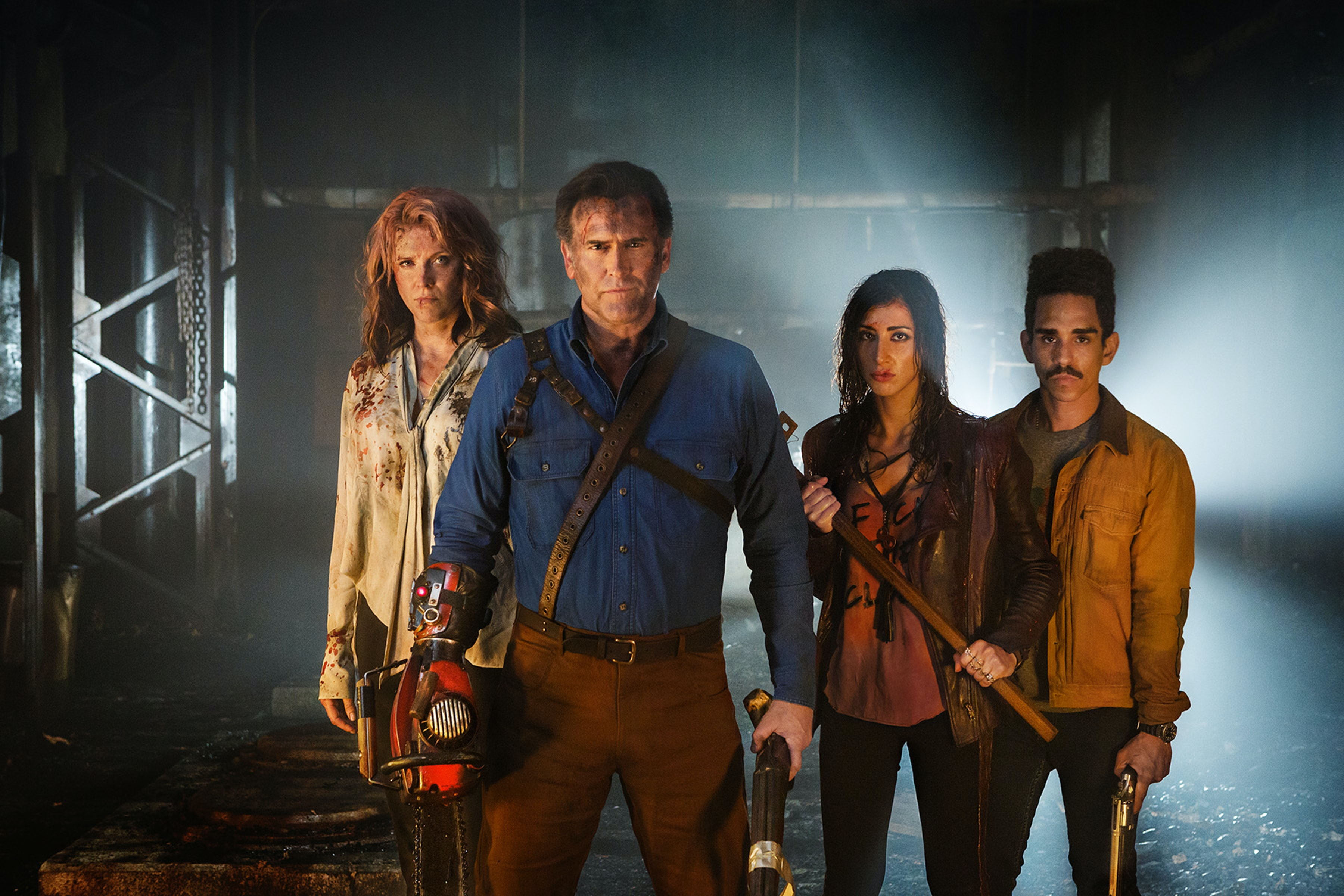 Lucy Lawless, Bruce Campbell, Dana DeLorenzo, and Ray Santiago in 'Ash vs Evil Dead'