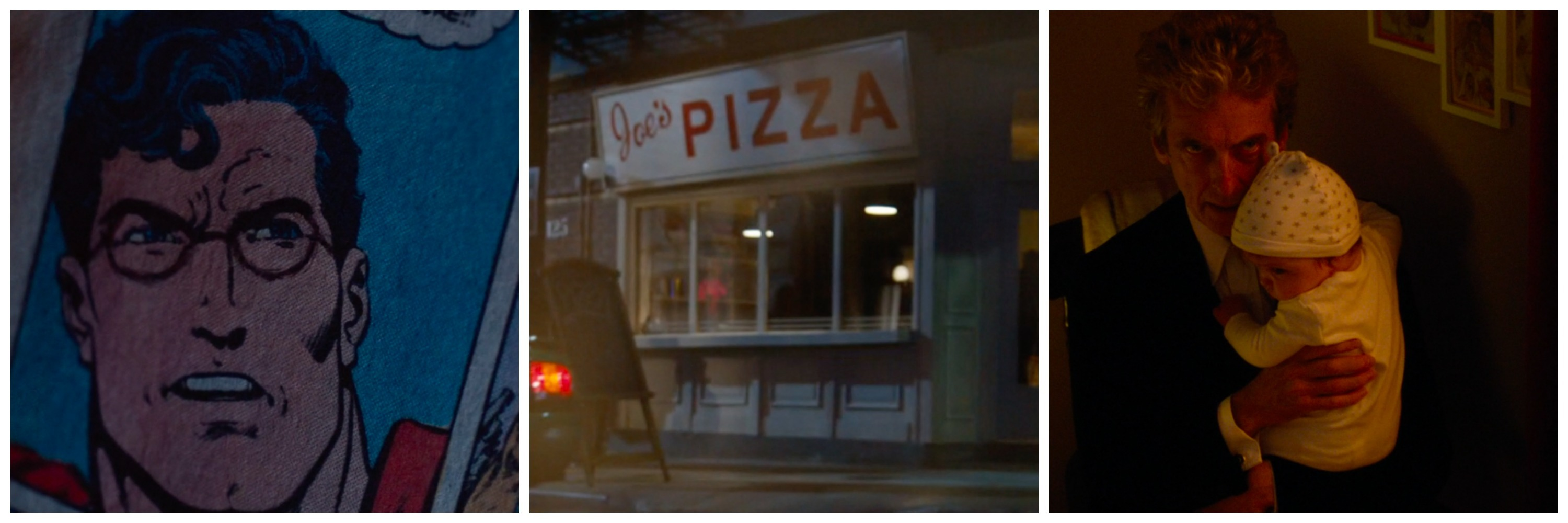 "LEFT: Superman with glasses-drawn on by the Doctor. CENTER: Joe's Pizza in ""Doctor Mysterio."" LEFT: The Doctor gives a Spider-Man speech"