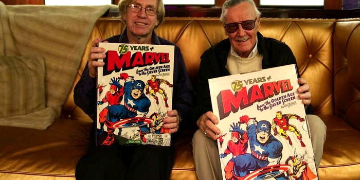 Roy Thomas and Stan Lee, two of the biggest names behind Marvel Comics.