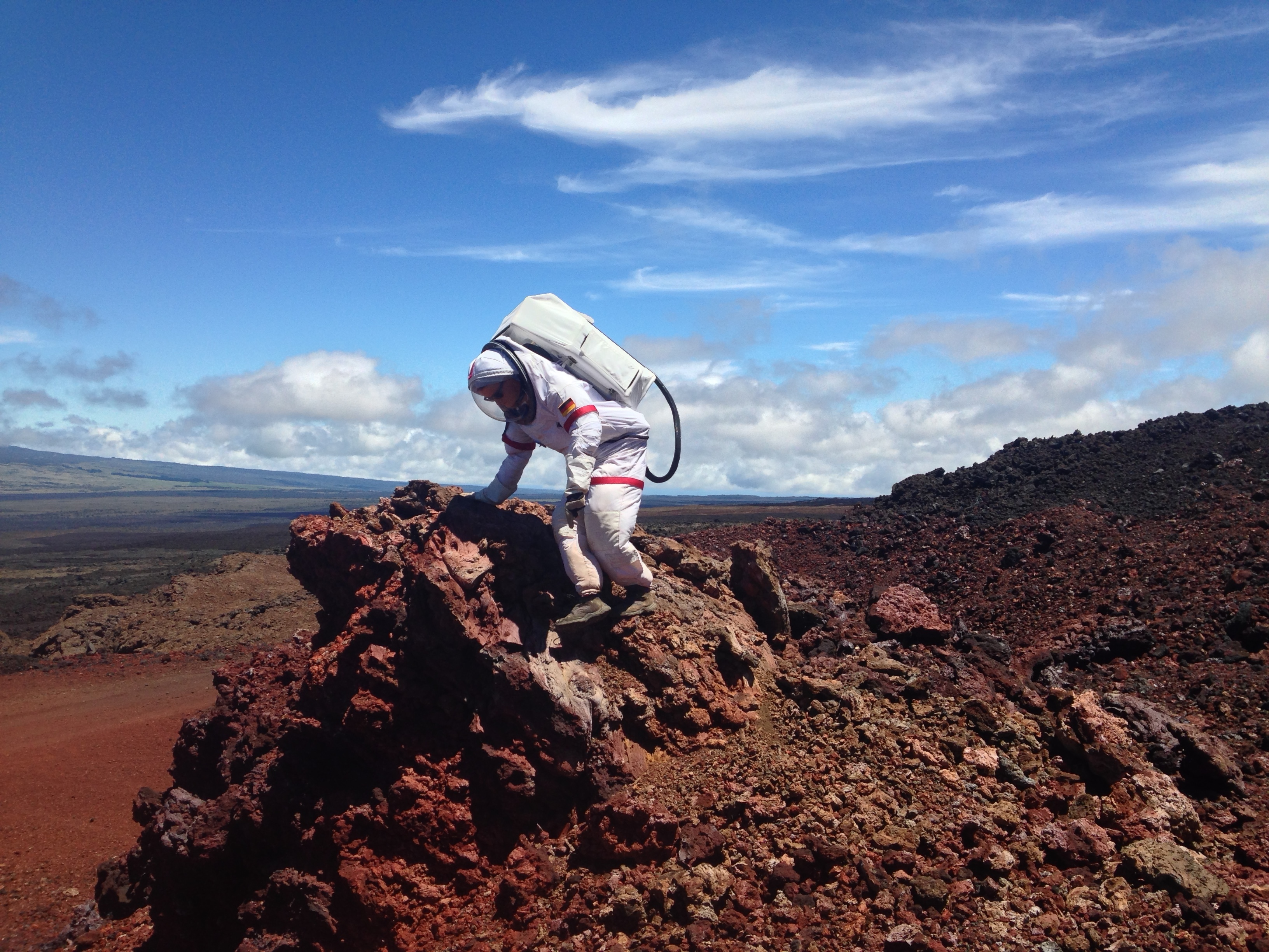 Christiane Heinicke works down a slope on an EVA mission during HI-SEAS.