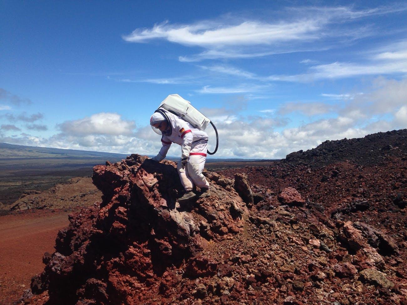 Christiane Heinicke works down a slope on an EVA mission during HI-SEAS. Carmel Johnston