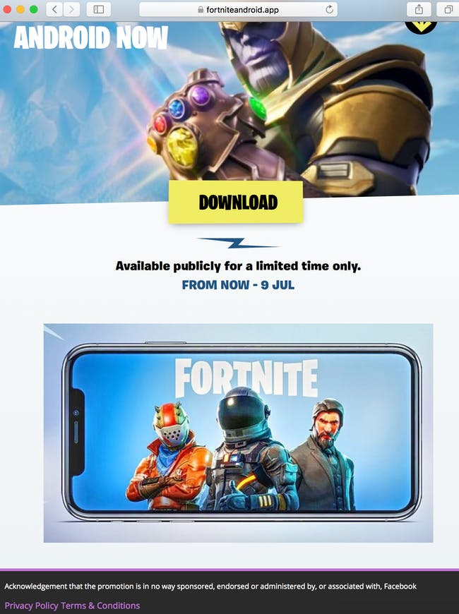 fake 'Fortnite' Android site