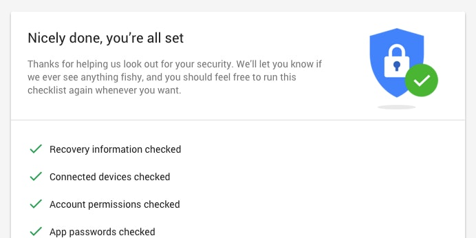 This is a screen shot showing how easy it is to do a security check on your Google account.