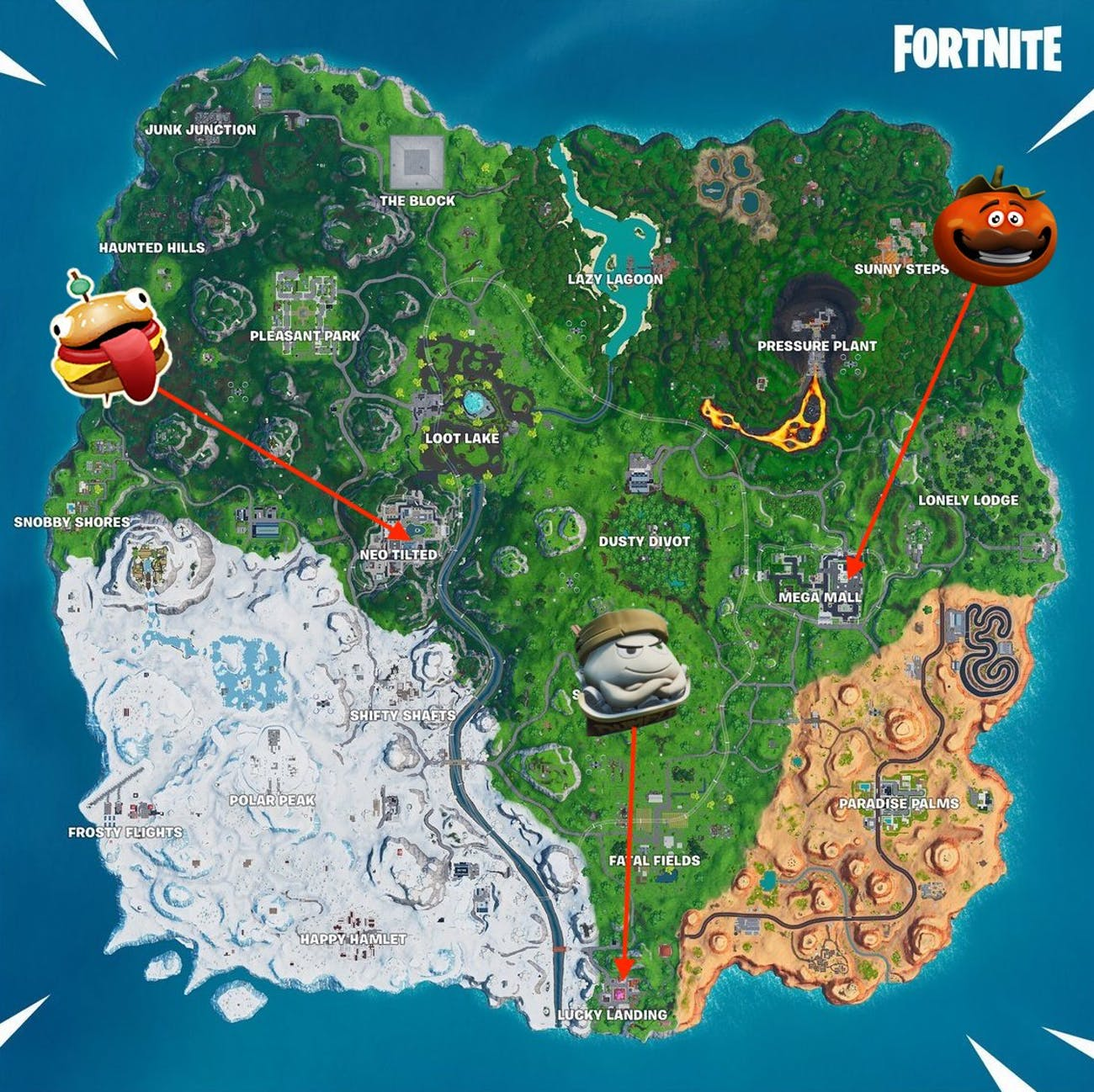 Fortnite Holographic Tomato Head, Durr Burger Head, and Dumpling