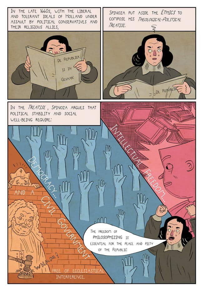 Baruch Spinoza in illustrated form.