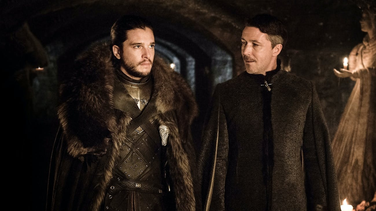 Kit Harington and Aiden Gillen in 'Game of Thrones' Season 7 episode 2, 'Stormborn'