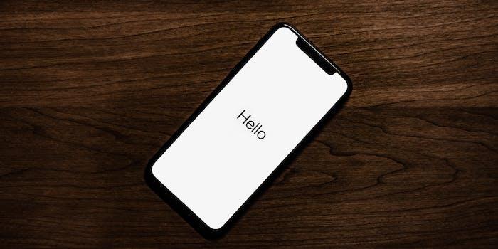 iPhone X hello