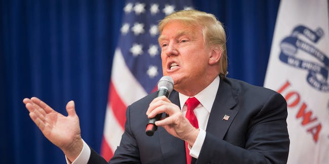 MARSHALLTOWN, IA - JANUARY 26:  Republican presidential candidate Donald Trump speaks at a rally on January 26, 2016 in Marshalltown, Iowa. Sheriff Joe Arpaio, the anti-immigration sheriff from Maricopa County, Arizona, today announced his support for Trump's presidential bid.  (Photo by Scott Olson/Getty Images)