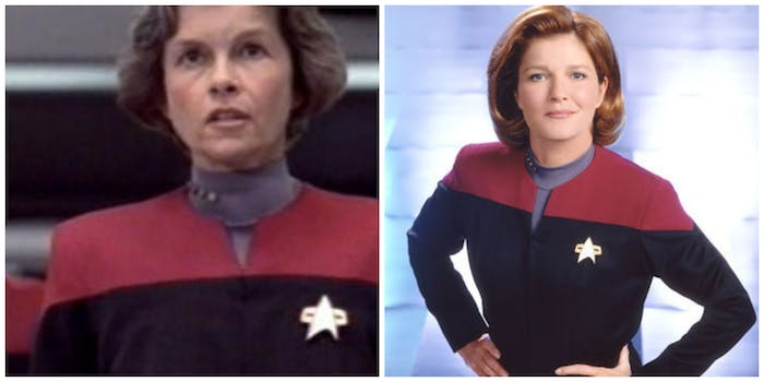 A tale of two captains: LEFT: Genevieve Bujold during her brief time on 'Star Trek: Voyager.' RIGHT: Kate Mulgrew as the Captain we all remember.