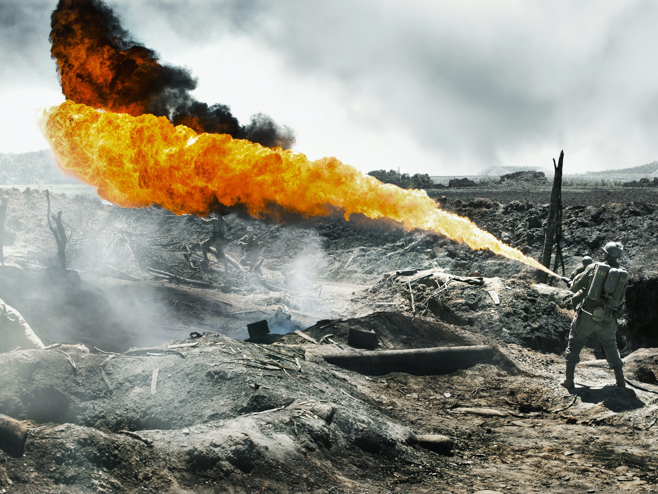 The flamethrower in 'Hacksaw Ridge'