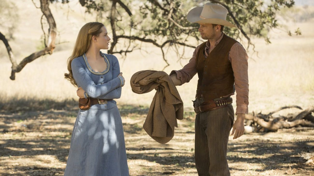 """Dolores and William in """"Westworld."""""""