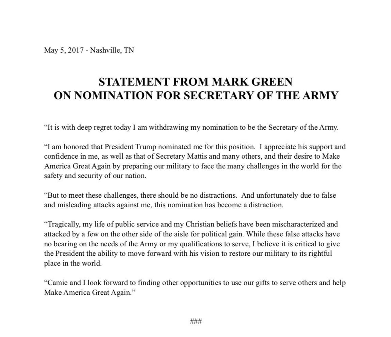 Mark Green's statement withdrawing himself from the nomination for Army Secretary.