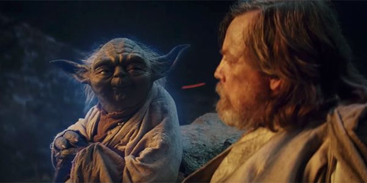 Yoda appeared to Luke Skywalker in 'The Last Jedi'.