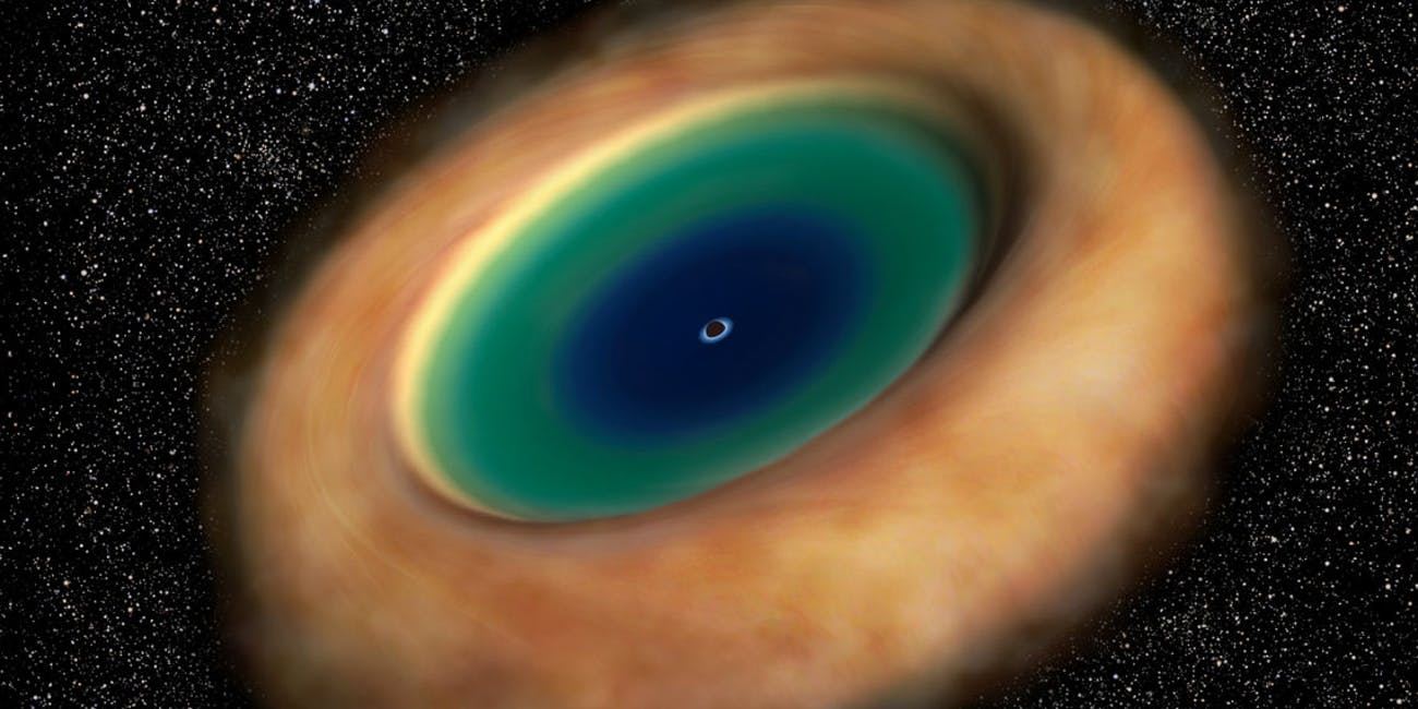 Illustration showing the ring of dust and gas with the supermassive black hole in the center. The disk is almost a thousand light years across