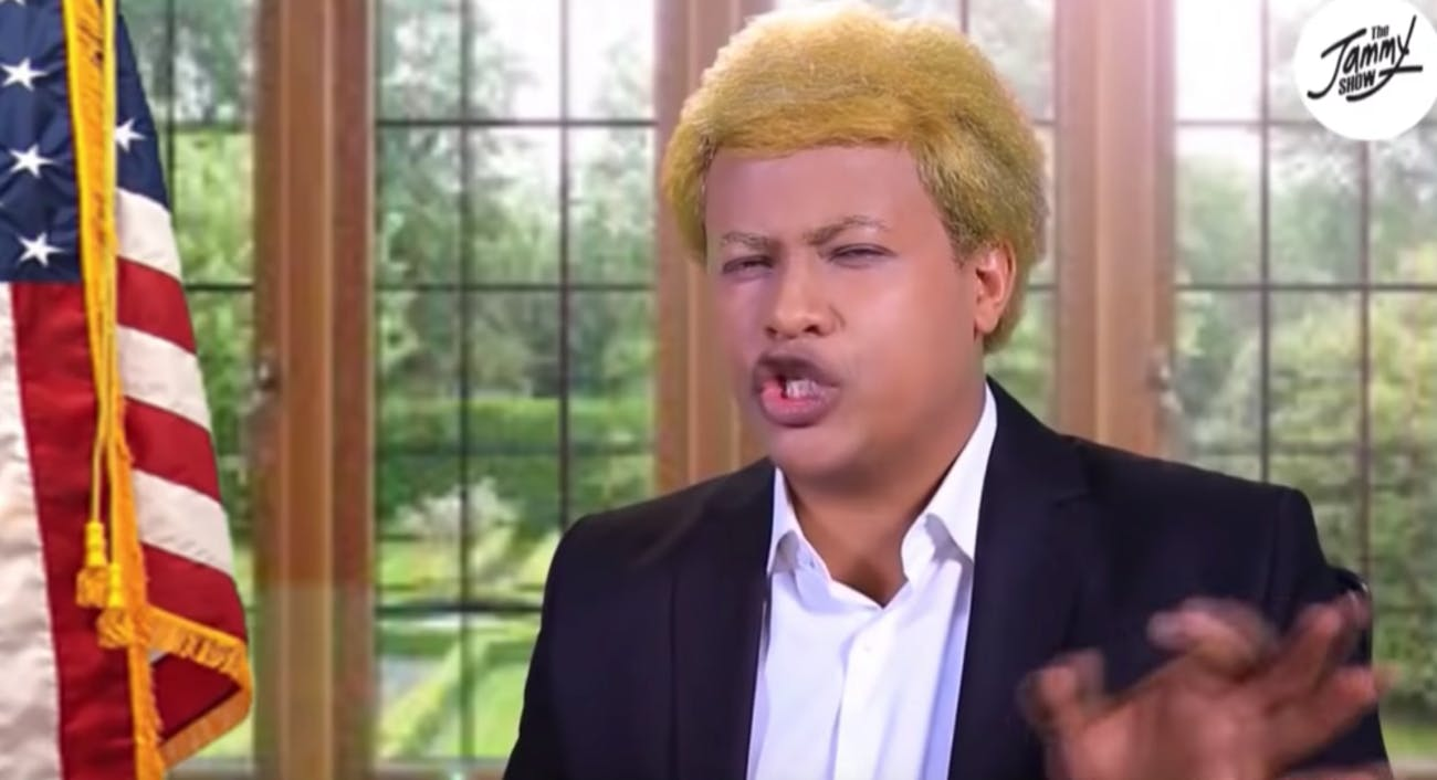 An unfunny portrayal of Trump in Ethiopia.