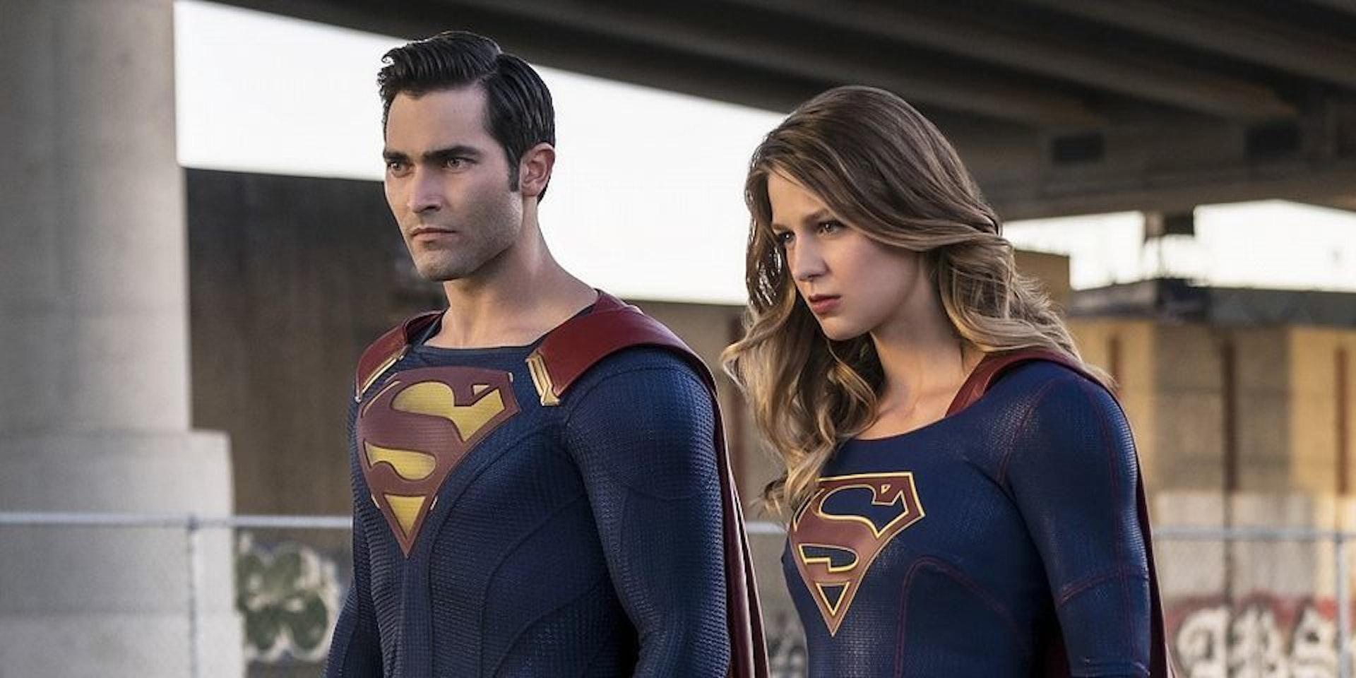 Tyler Hoechlin as Superman and Mellisa Bennoist as Supergirl on CW's Supergirl