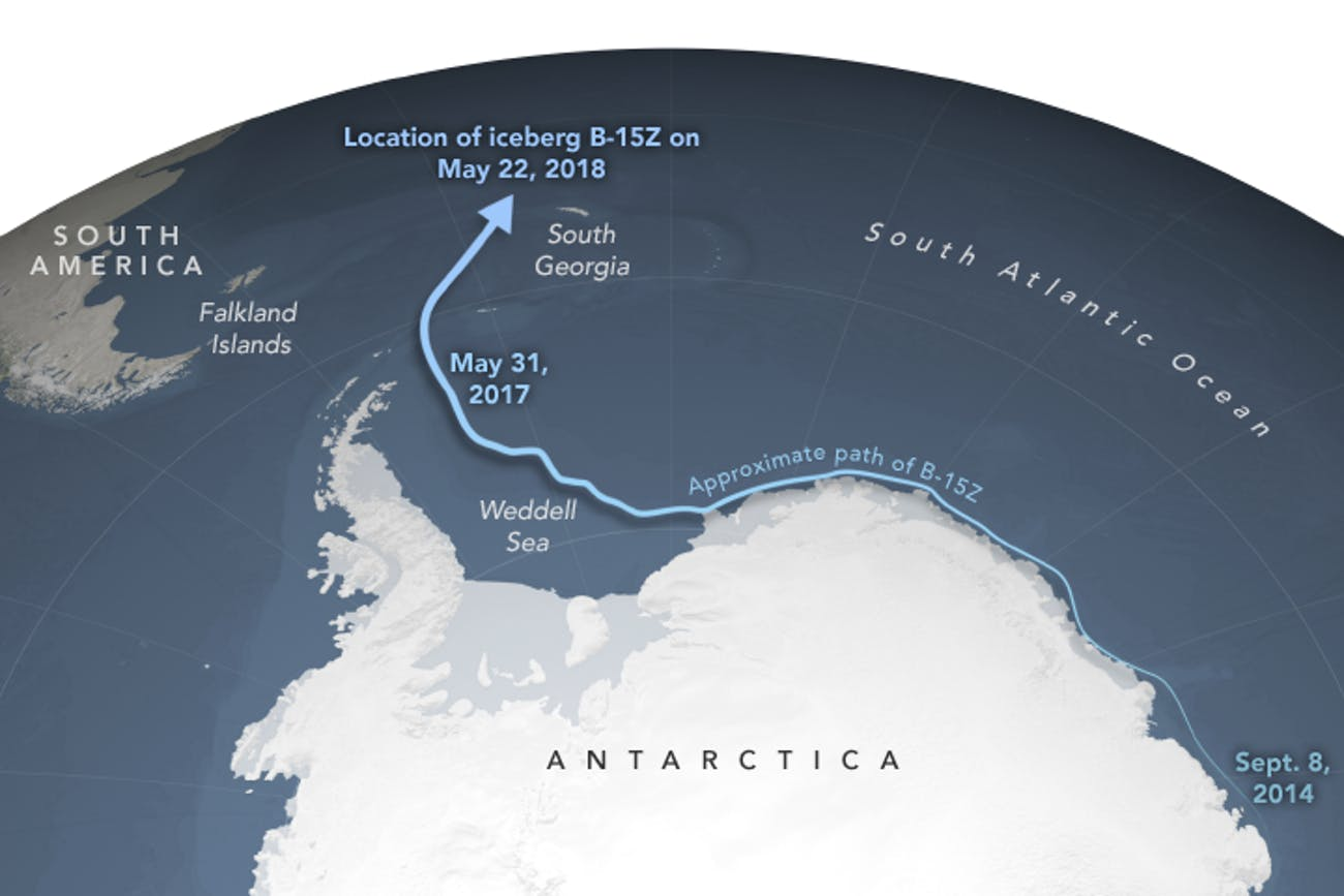 Iceberg B-15Z's ominous path