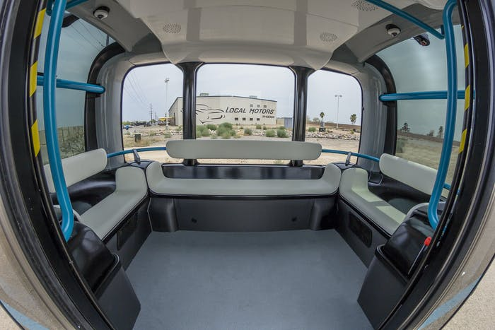 Local Motors Phoenix Arizona Olli Self Driving Bus Autonomous 3D printed Jay Rogers