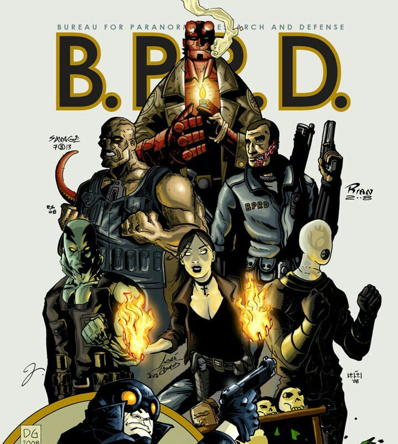 Hellboy (up top), Ben Daimio (center right), along with other members of the BPRD.