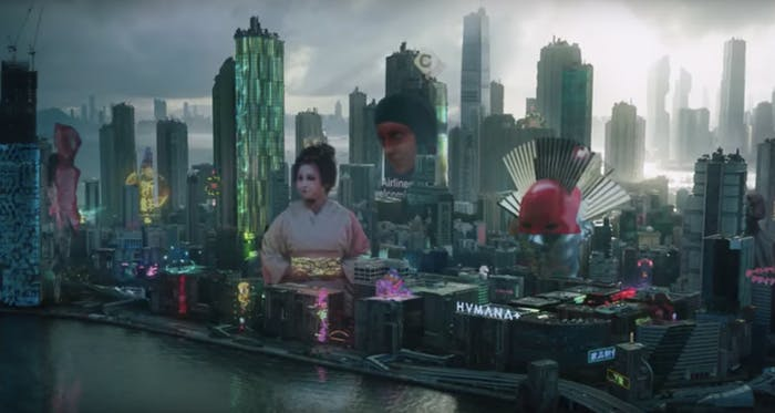 The New Port City skyline in 'Ghost in the Shell'