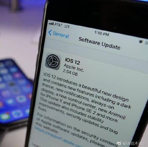 The likely fake iOS 12 screenshot.