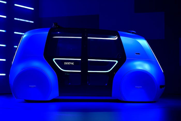 A Volkswagen 'Cedric' self-driving automobile at the Geneva International Motor Show.