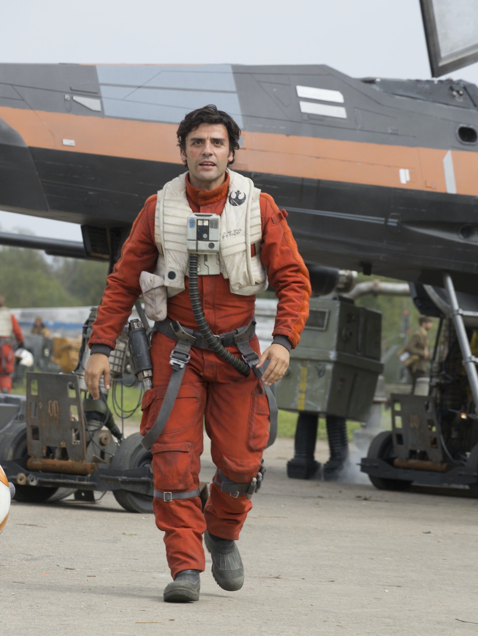 Poe Dameron and his X-wing in 'Star Wars Episode VII: The Force Awakens'