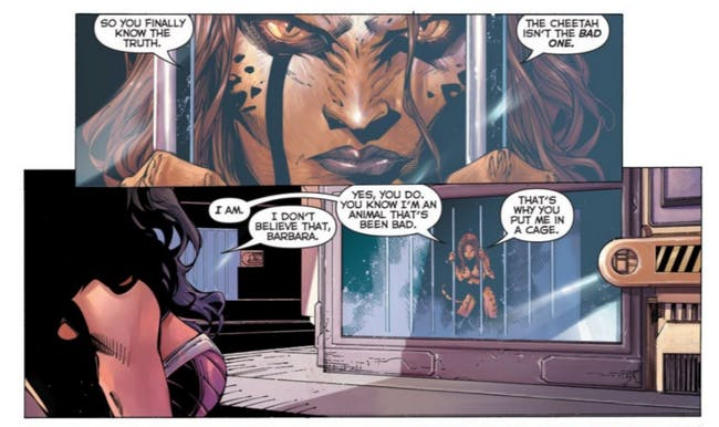 A scene from the 'Justice League' comic where Cheetah's true backstory is revealed.
