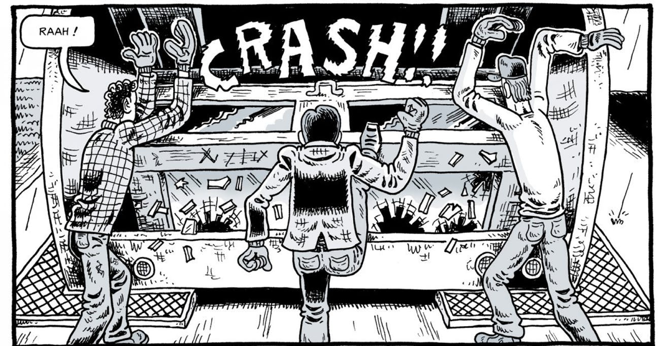 A panel from Derf's 'Trashed', the story of young men working waste management.