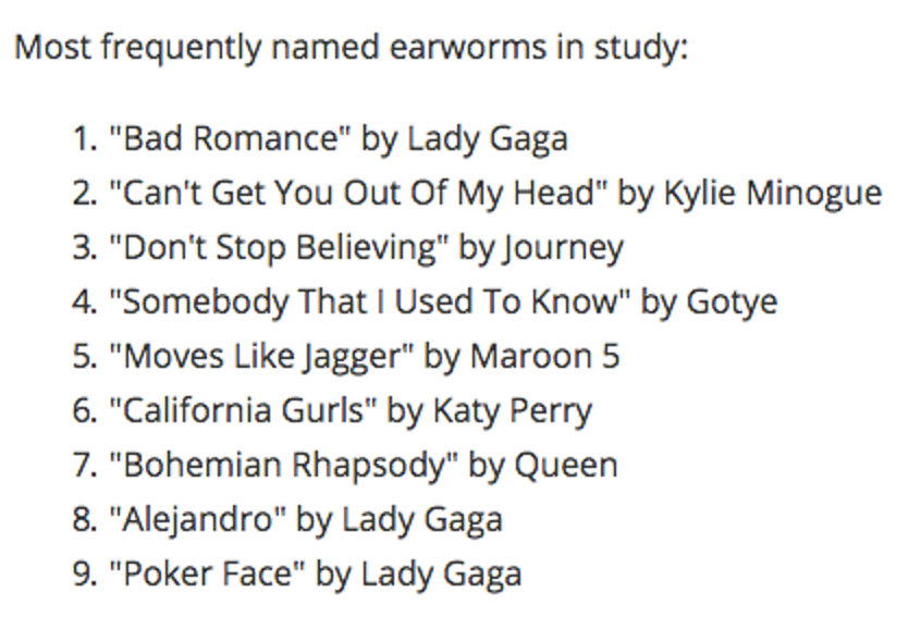 Lady Gaga is the queen of earworms, according to the scientists' findings.