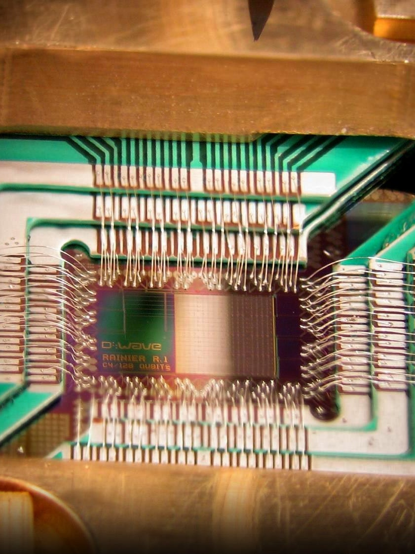 A computer chip made by D-Wave Systems