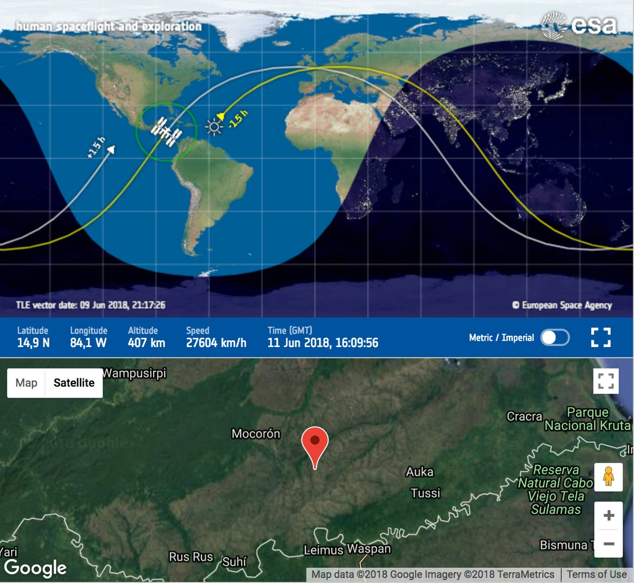 A screenshot of the ESA's space station tracker.