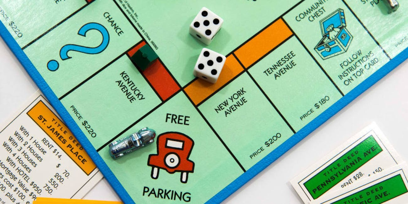 monopoly board orange red free parking car