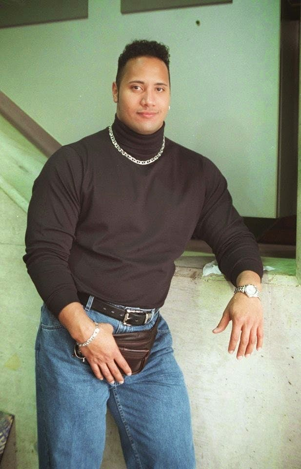 Dwayne The Rock Johsnon fanny pack vintage with hair hair loss alopecia bald balding