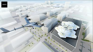 """Concept art of an UberAir """"vertiport"""" in the Dallas Fort Worth area."""
