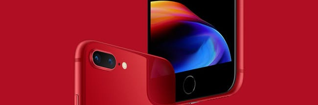 Apple's iPhone 8 in red.