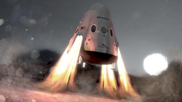 An artist's rendering of the SpaceX Red Dragon landing on Mars.