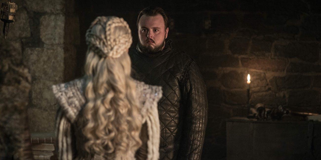 Sam (John Bradley) and Daenerys (Emilia Clarke) on 'Game of Thrones).