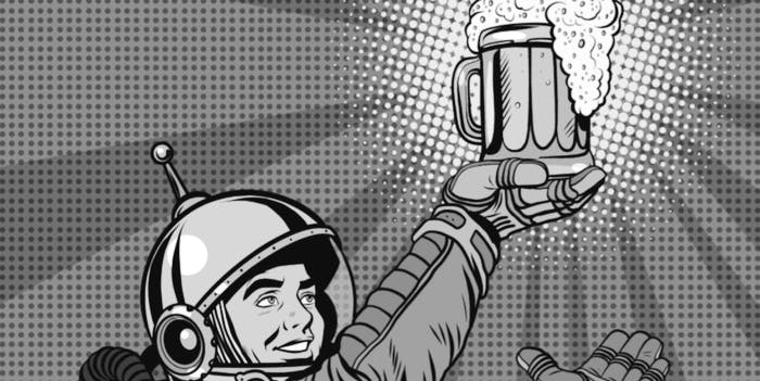 astronaut drinking in outer space beer universe alcohol