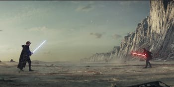 Luke's projection faces off against Kylo Ren.