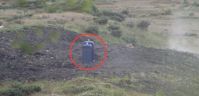 Two TARDISes appear on the set of the 'Doctor Who' 2017 Christmas Special.