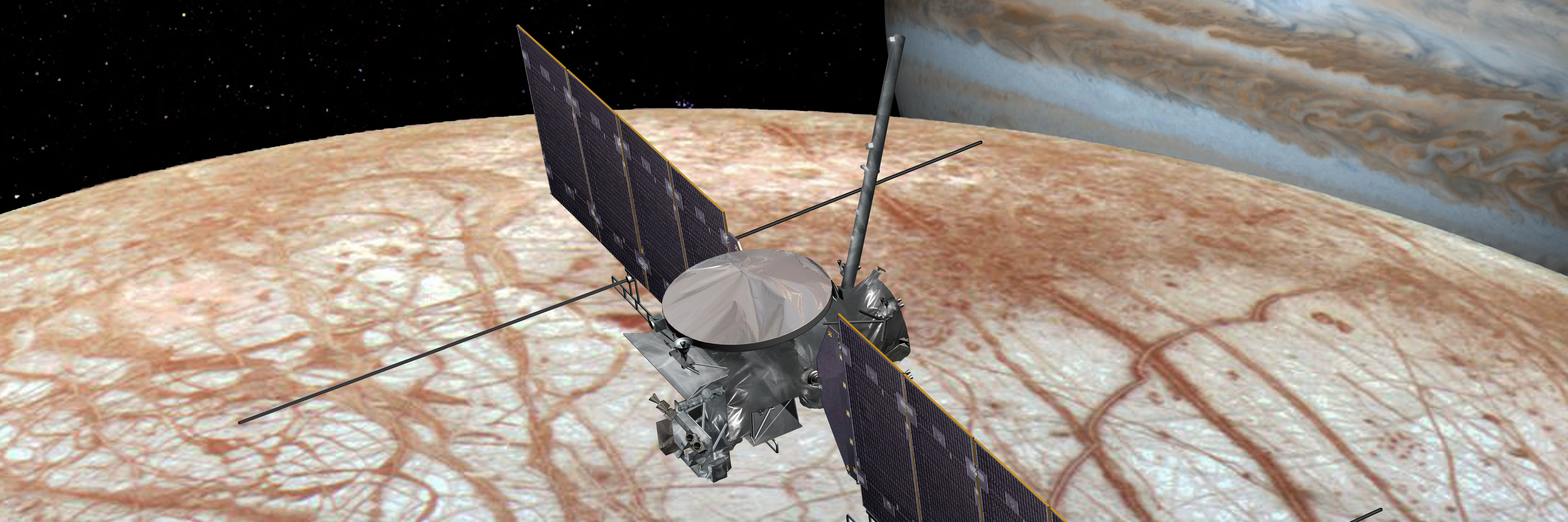 An artist's rendering shows the Europa Clipper flying by Europa. On its mission, it will make 40 to 45 flybys of this moon.