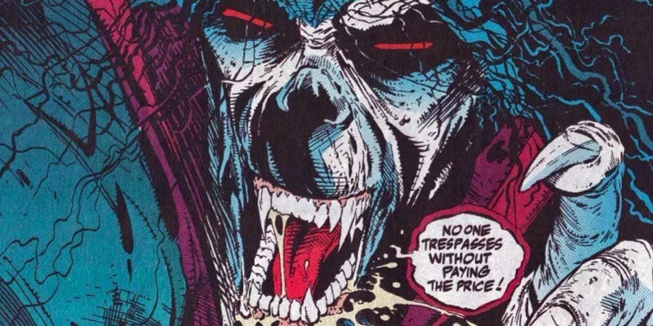 "Morbius ""No one trespasses"" message from the Marvel comics"
