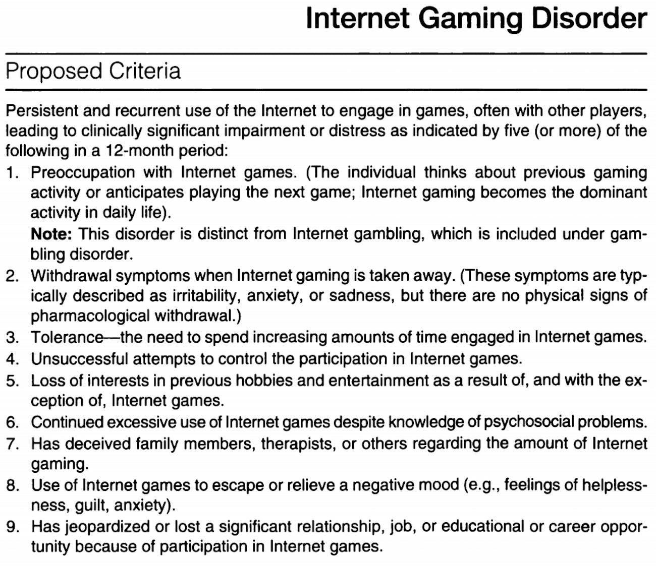 dsm v video gaming