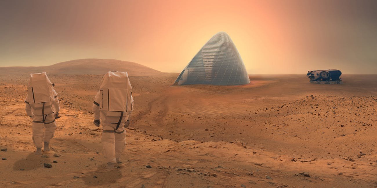 Future astronauts could live in modified igloos on Mars.