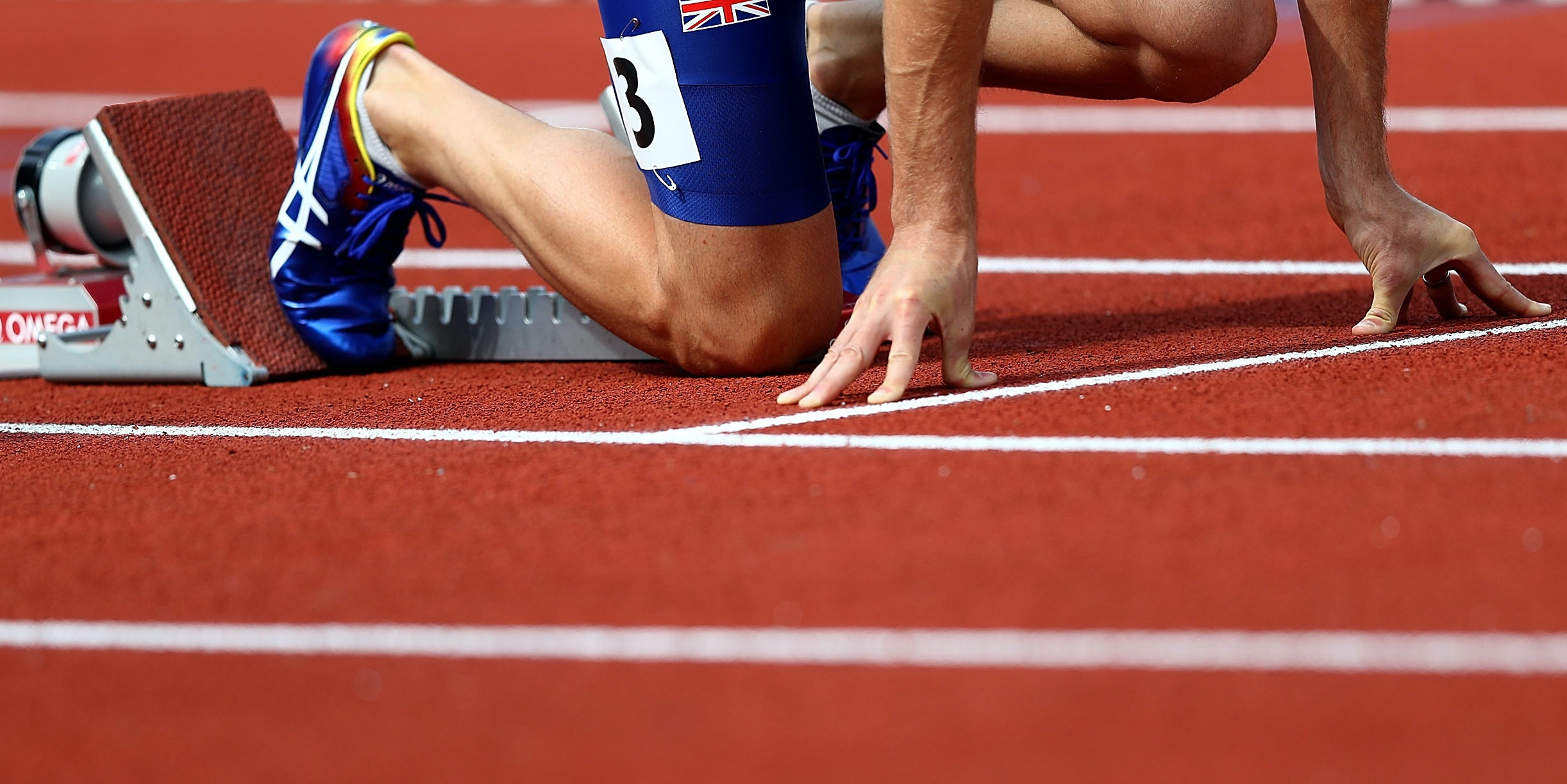 AMSTERDAM, NETHERLANDS - JULY 07:  Rhys Williams of Great Britain in the starting blocks ahead of his 400m hurdles semi final on day two of The 23rd European Athletics Championships at Olympic Stadium on July 7, 2016 in Amsterdam, Netherlands.  (Photo by Dean Mouhtaropoulos/Getty Images)