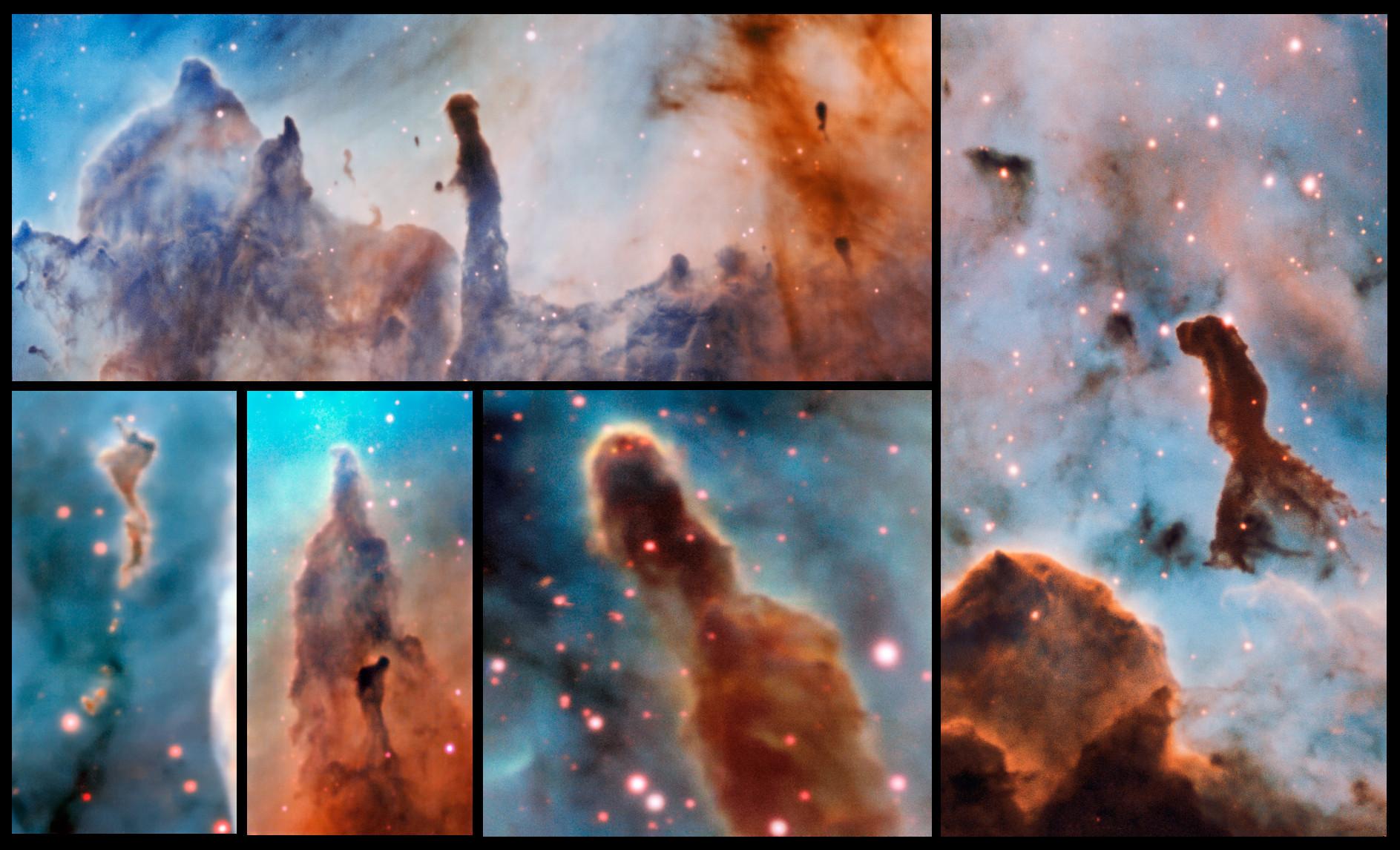 Several pillars within the Carina Nebula.